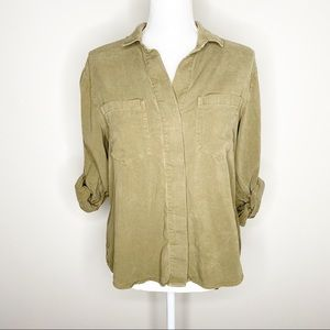 Anthro Cloth & Stone Chambray Split Tail Top Small